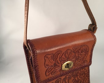 Genuine Leather Tooled Handbag
