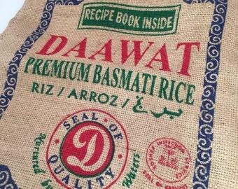 Vintage Burlap Rice Bag with Zipper, Daawat Premium Basmati Rice