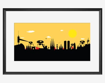 Barcelona Skyline, War of the worlds inspired Print, Barcelona Spain, Barcelona print, Barcelona poster, Aliens print, Aliens posters, gift
