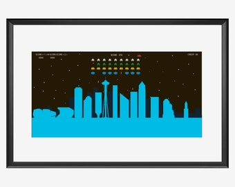 Seattle Skyline print, Seattle print, Seattle art, Seattle poster, Pixels movie inspired print, Pixels art, Pixels poster, Pixels print, ufo