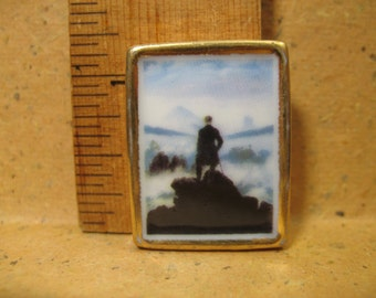 Tiny Friedrich's Wanderer Above the Sea of Fog  Art Painting Masterpiece - French Feve Feves Figurines Doll House Miniatures F70