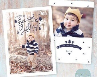 SALE NOW ON Holiday Card Template - Christmas Photoshop template - Ac040 - Instant Download