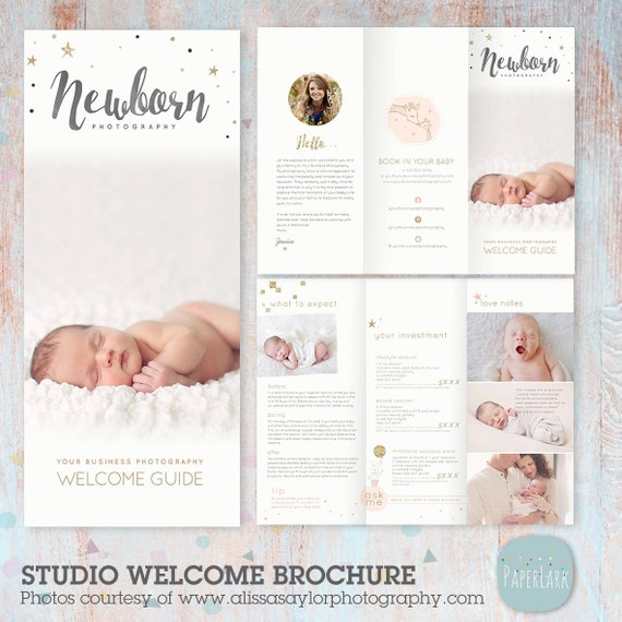 welcome brochure template - newborn trifold brochure flyer photography guide dl size