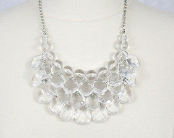 Crystal Statement Necklace Clear Beads Necklace Teardrop Necklace Chunky Layered Bib Necklace