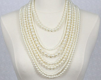 Multi Strand Pearl Necklace Statement Necklace Multi Layered Beaded Necklace Seven Strand Beads Necklace