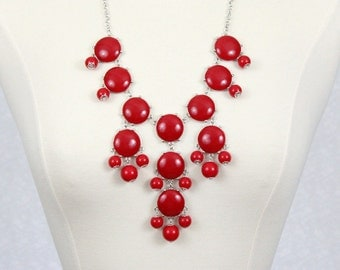 Bubble Necklace Statement Necklace Bib Necklace Red Chunky Necklace