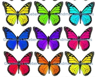 Edible Rainbow Butterfly Wedding Cake Toppers - Cake Decorations / Cupcake Topper Set of 15