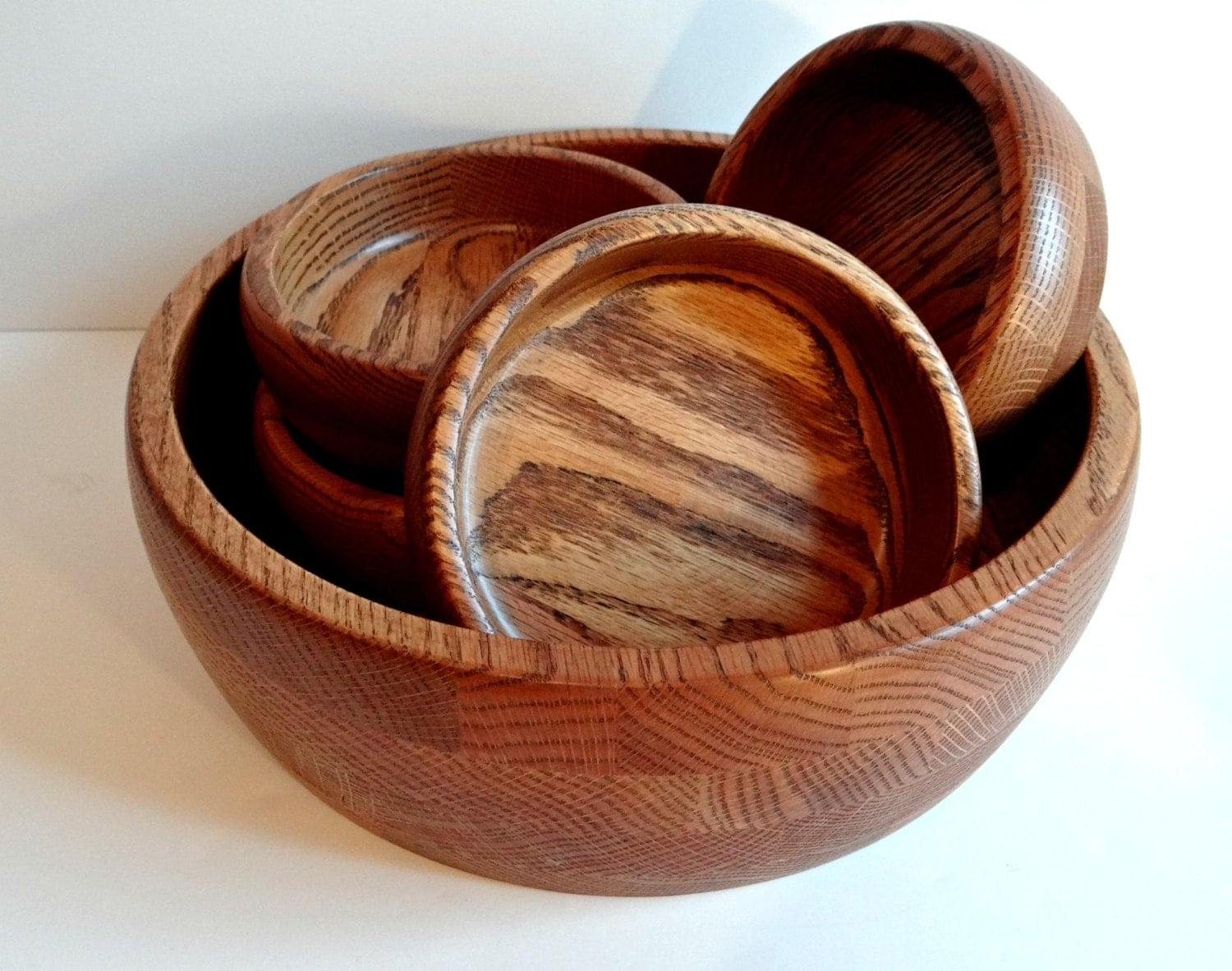 handmade wood bowls vintage handmade oak wood serving bowl and four matching 2254