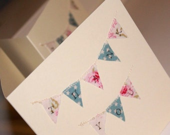 10 x Rustic, Shabby Chic Thank You Cards, Bunting Thank You Cards