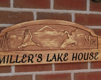 Custom Personalized Lake House Sign 3D Graphics Wooden Carved Cabin Vacation Home Rustic Mountain Range Duck Goose Image 23 x 9 Pine 3005