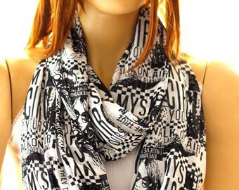 Newsaper print Fashion Scarf Circle Scarf Loop Scarf Trending items Gift Ideas For Her Women Fashion Accessories Black White Scarf
