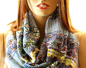 Scarf - Bohemian Infinity scarf - Loop scarf - Women Scarves - Gift ideas - Scarves - Spring scarf - Boho Chic - Cotton Scarf - Aztec Scarf