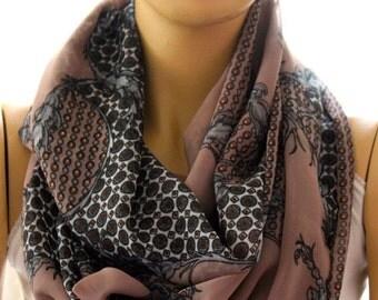 Silk chiffon infinity scarf, scarves, women accessory, brown, classical scarf, fashion scarf, trendy accessory, loop scarf, circle scarf