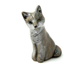 Young Gray Wolf Sitting Up Miniature Figurine Polymer Clay