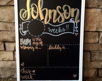 Weekly pregnancy signs, weekly pregnancy chalkboard, Personalized Week by Week Chalkboard Sign, Pregnancy Countdown, Baby Announcement