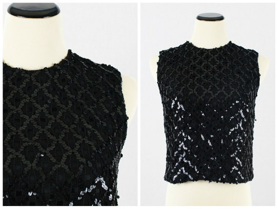 Black Sequin Top - 50s Union Made Sequinned Shirt - Vintage 1950s Union Label Black Sleevless Shirt