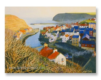 Staithes From Cowbar - A beautiful North Yorkshire painting by James McGairy - Limited edition mounted giclee print