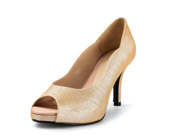 Jill Gold Glitter Heels, Gold Glitter Lower Heels, Golden Curvy Heel, Gold Glitter 3.5 Inch Heel, Gold Wedding
