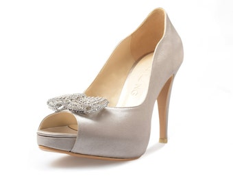 Starling Silver Satin Pumps, Silver Satin Peep Toe Pumps, Silver Wedding Shoes with Brooch, Silver Brooch Bridal Heels