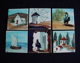 Hand Painted Tiles Vintage 6 Signed