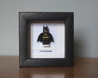 Batman Framed Mini Figure made from Lego