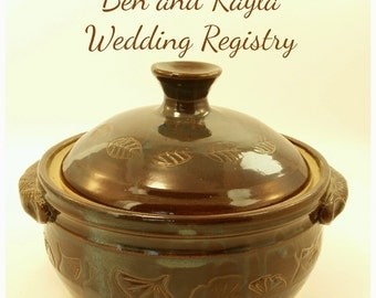 Wedding Registry Pottery Casserole Dish; Handmade Pottery Cooking Dish; Ceramic Casserole Container; Wedding Registry Casserole