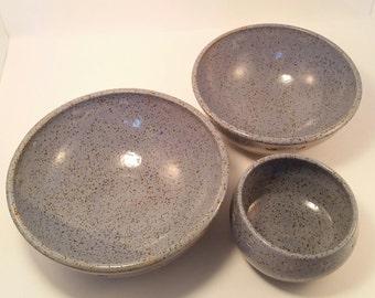 Wedding Registry Pottery Serving Bowl Set; Handmade Pottery set of 3 Serving Bowls; Ceramic Serving Bowls; Wedding Registry Bowls