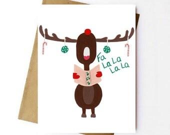 Set of 10 - Reindeer Carols - Christmas Card