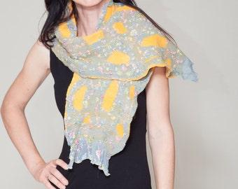 """Felted Yellow Grey Scarf """"Reflection"""" (Nuno felted scarf, merino wool,polyester, silk, wrap shawl, felted art, handmade)"""