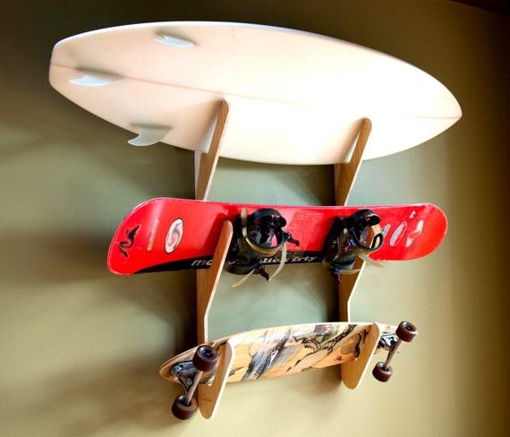 bamboo surfboard snowboard skateboard rack the triple rack. Black Bedroom Furniture Sets. Home Design Ideas