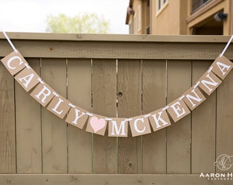 """Personalized """"NAME"""" chipboard banner for Baby Showers, Maternity Sessions, Photo Props, with Custom Colors"""