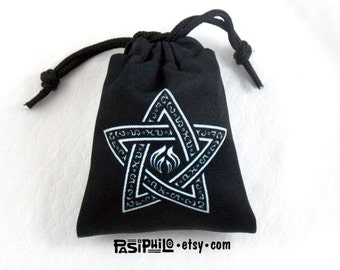 Warlock Fantasy RPG Mini Drawstring Dice Pouch, White Symbol on Black