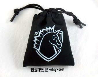 Paladin Fantasy RPG Mini Drawstring Dice Pouch, White Symbol on Black