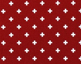 Premier Prints - Mini Swiss Cross in Lipstick - 1/2 Yard
