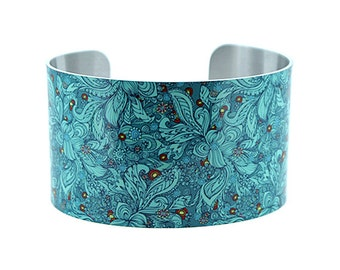 Statement cuff bracelet, floral teal wide metal bangle, boho chic bracelet. Unusual gift for her. Recycled handmade jewellery. C137