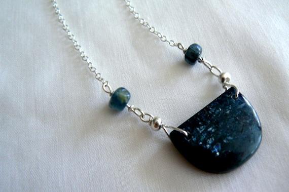 Blue moon Kyanite pendant- Blue kyanite moon gemstone necklace- Boho stone pendant silver chain- Chic women moon necklace