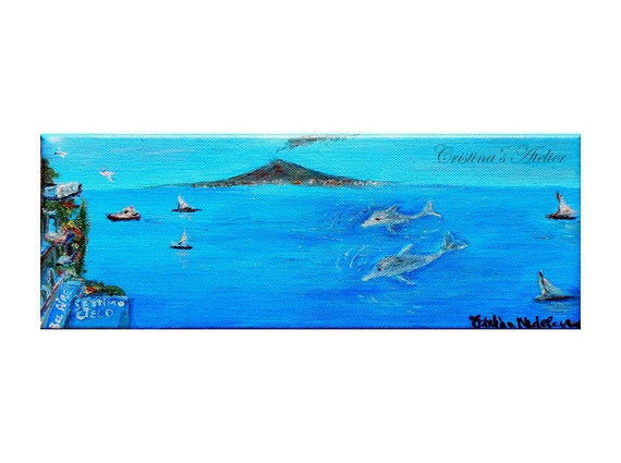 Dolphins Italian vista- Original oil painting on canvas- Panoramic scenic art- Size 4x12in- Contemporary seascape painting- Home decor gift