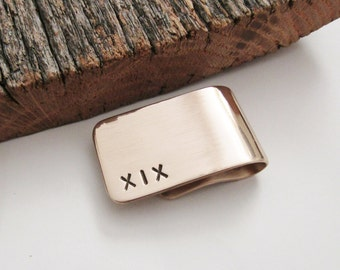19th Anniversary Gift for Husband Money Clip Year 19 Anniversary Man Roman Numeral Credit Card Holder Metal Personalized Card Clip Bronze