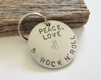 Hippie Gift for Bohemian Jewelry for Her Peace Sign Gift Peace Love and Rock and Roll Keyring for Girlfriend Keychain Men Birthday Gift Her