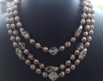 Vintage Three Strand Glass Bead Necklace