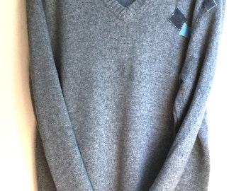 Light Grey Oversized 100% 2ply thick cashmere  sweater upcycled one size fits most SML by Three Whiskers Farm