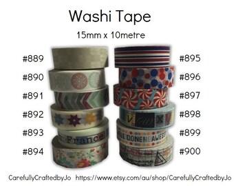 Washi Tape - 15mm x 10 metres - High Quality Masking Tape