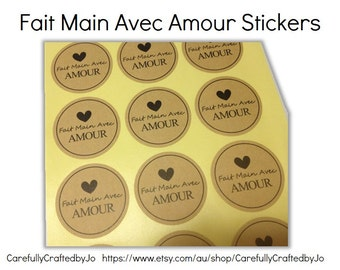Set of 60,120,180 - Fait main Avec Amour French - Handmade with Love Stickers - Kraft Sticker/ Envelope Seals