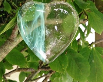 Turquoise Heart, Hanging Heart, Turquoise Suncatcher, Fused Glass, Hand made in the UK
