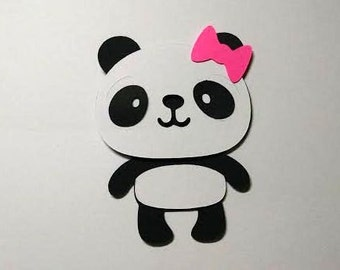 40 Panda with bow 3 inch die cuts