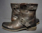 Frye Brown Leather Short Motorcycle Boots Women's Size 6