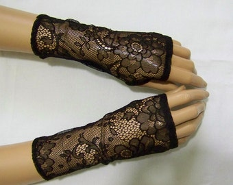 Short Black Arm Warmers, Fingerless Gloves, Gothic, Lolita, with Thumb Holes. IDEAL for HER