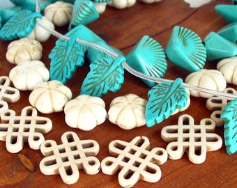 "15"" Chinese Knot / Flower / Leaf / Fan carved beads gemstone Reconstructed Magnesite Howlite stone White Turquoise Blue - Full / Half strand"