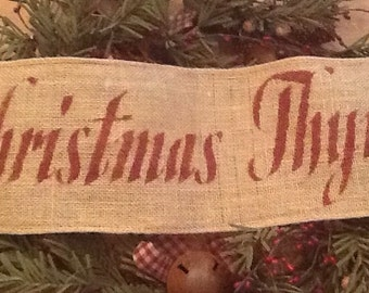 "Primitive Christmas Thyme Wired Burlap Ribbon Banner Ornament Garland 5-1/2"" x 20"""