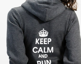M - Keep Calm and Run On Hoody - Heather Gray - Women's - by Runner's Booty (Medium)